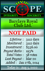 www.hyipscope.org - hyip barclays royal club